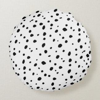 Het artistieke patroon van waterverf zwarte witte rond kussen