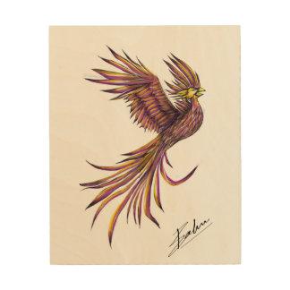 Het artistieke Teruggeven van Phoenix op Houten Hout Print