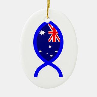 Het Australische Symbool van de Vissen van de Vlag Keramisch Ovaal Ornament