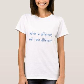 Het autisme is verschillend, en ik houd van t shirt