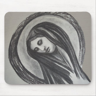 Het Ave Maria Mary Grey White Charcoal van Madonna Muismat