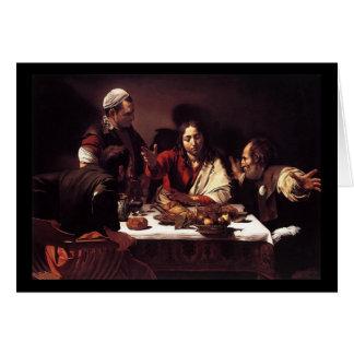 Het Avondmaal van Caravaggio in Emmaus Wenskaart