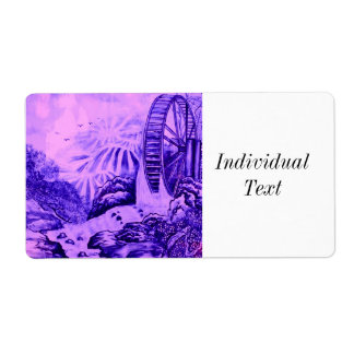 Het Aziatische roze blauw van het Behang Etiket