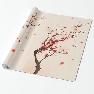 Het Aziatische Schilderen van de Stijl, de Bloesem Inpakpapier