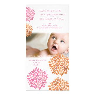 Het baby dankt u kaardt Roze Oranje Bloemen Fotokaarten