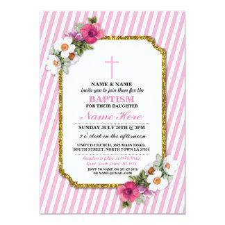 Het baby dat Hout van het Meisje van het Doopsel 12,7x17,8 Uitnodiging Kaart