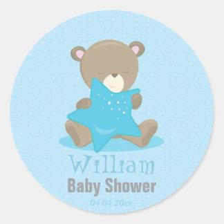 Het baby draagt Blauwe Jongen die een ster houden Ronde Stickers