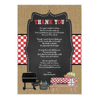 Het baby Q dankt u nota neemt van met gedicht/BBQ Kaart