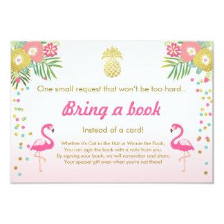 Het baby shower brengt een Flamingo van het Boek 8,9x12,7 Uitnodiging Kaart