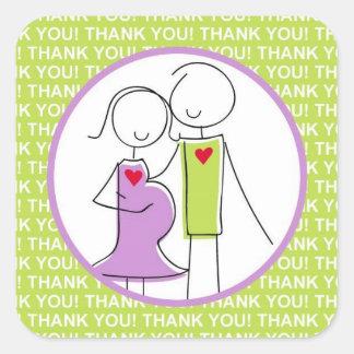 Het baby shower, Paar dankt u Groene Stickers, Vierkant Stickers