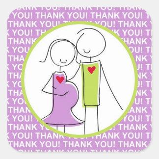Het baby shower, Paar dankt u paarse Stickers, Vierkante Sticker