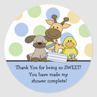 Het Baby shower van de Dieren van het baby dankt u Ronde Sticker