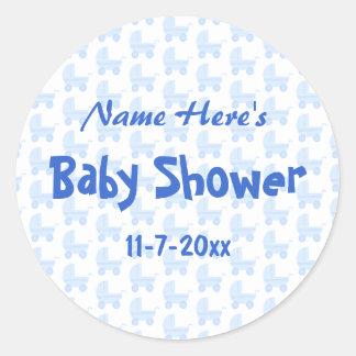 Het Baby shower van de jongen Het blauwe Patroon Ronde Sticker