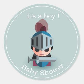 Het Baby shower van de Jongen van de ridder Ronde Stickers