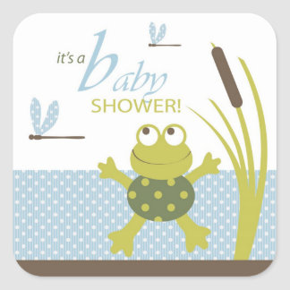 Het Baby shower van de kikker en van de Libel Vierkante Stickers