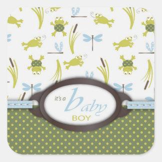Het Baby shower van de kikker en van de Libel Vierkant Stickers