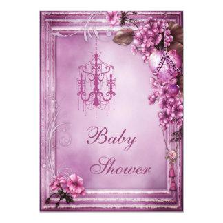Het Baby shower van de kroonluchter, van het Hart 12,7x17,8 Uitnodiging Kaart