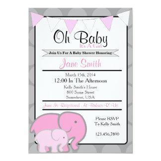 Het Baby shower van de olifant Kaart