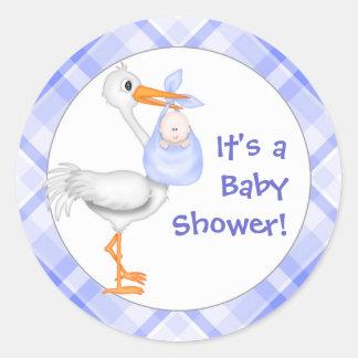 Het Baby shower van de ooievaar & van de Jongen Ronde Stickers