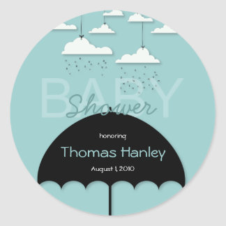 Het Baby shower van de paraplu sparen het Etiket Ronde Stickers