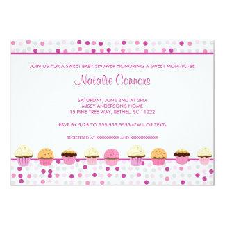 Het Baby shower van de Rij van Cupcake nodigt roze Kaart