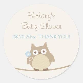 Het Baby shower van de Uil van de jongen dankt u Ronde Sticker