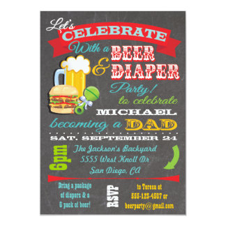 Het Baby shower van het bier en van de Luier voor 12,7x17,8 Uitnodiging Kaart