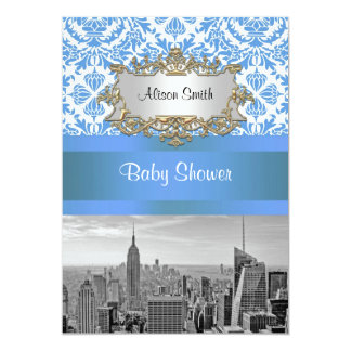 Het Baby shower van het Damast van BW van de 12,7x17,8 Uitnodiging Kaart