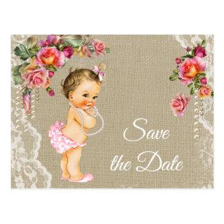 Het Baby shower van het Kant van de jute bewaart Briefkaart