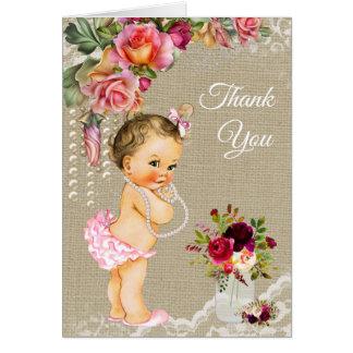 Het Baby shower van het Kant van de jute dankt u Kaart