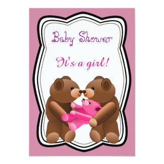 Het Baby shower van het Meisje van de teddybeer Kaart