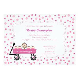 Het Baby shower van het Meisje van de Wagen van 12,7x17,8 Uitnodiging Kaart