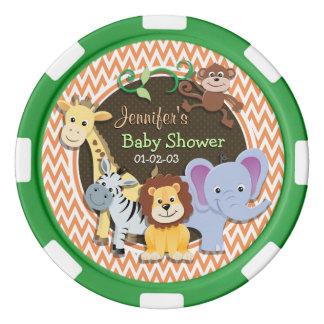 Het Baby shower van het oerwoud; Oranje en Witte Pokerchips