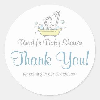 Het Baby shower van het Schuimbad van de jongen Ronde Stickers