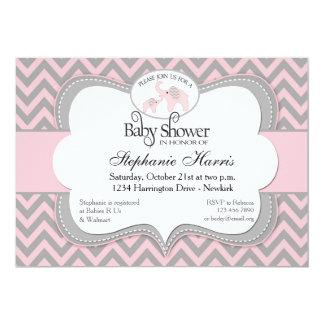 Het Baby shower van olifanten in het Roze van de Kaart