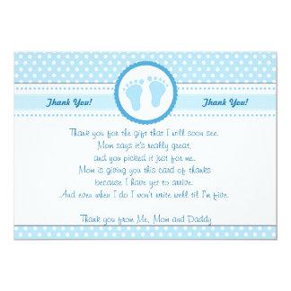 Het Baby shower van stippen dankt u kaardt Blauwe Kaart