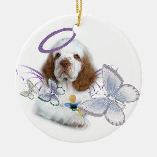 Het Baby van de Engel van het Spaniel van Clumber Rond Keramisch Ornament