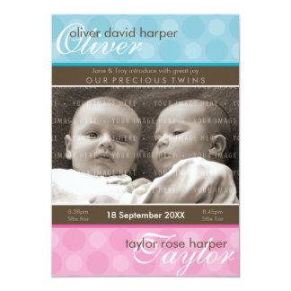 HET BABY VAN TWEELINGEN DANKT U:: harmonie 1P 12,7x17,8 Uitnodiging Kaart