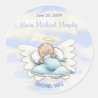 Het babyjongen van de engel ronde sticker