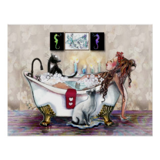 Het baden door de Druk van het Kaarslicht Poster