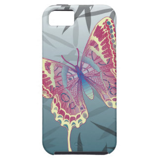Het Bamboe van de vlinder verlaat Blauw Uniek Tough iPhone 5 Hoesje