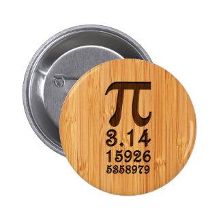 Het bamboe ziet & de Gegraveerde Aantallen van Pi Ronde Button 5,7 Cm