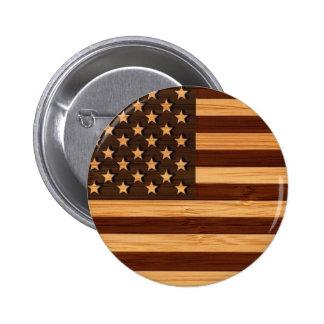 Het bamboe ziet & de Gegraveerde Vintage Ronde Button 5,7 Cm