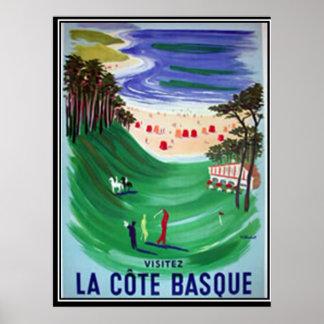 Het Baskische kust vintage poster