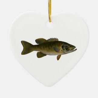 Het BasLogo van Smallmouth Keramisch Hart Ornament