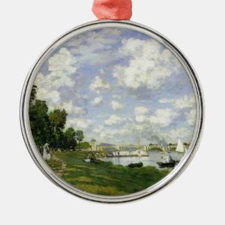 Het bassin in Argenteuil - Claude Monet Zilverkleurig Rond Ornament