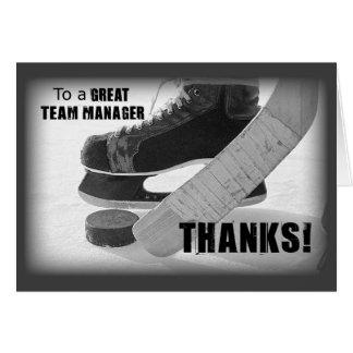 Het Bedankt, de Schaatsen, de Stok en de Puck van Wenskaart