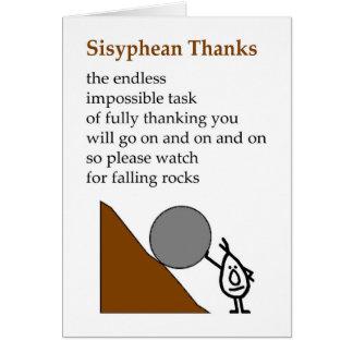 Het Bedankt van Sisyphean - grappig dankt u Briefkaarten 0