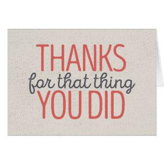 Het bedankt voor dat ding u kaardde | Rood/Tan Notitiekaart
