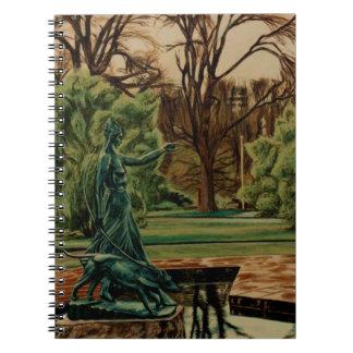 Het Beeldhouwwerk van Diana Artemis in Tuinen Ringband Notitieboek